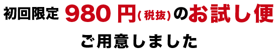 月額980円(税抜)のお試し便ご用意しました